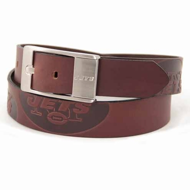 New York Jets Brown Leather Brandished Belt