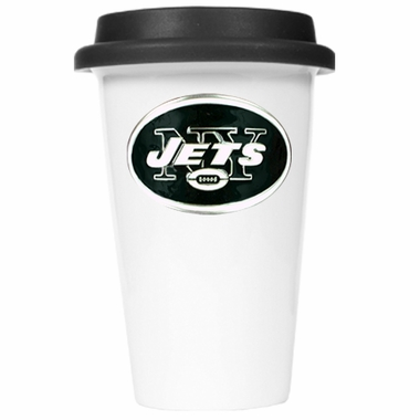 New York Jets Ceramic Travel Cup (Black Lid)
