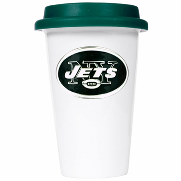 New York Jets Ceramic Travel Cup (Team Color Lid)