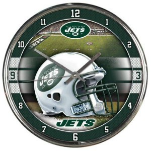 New York Jets Round Chrome Wall Clock