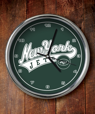 New York Jets Chrome Clock