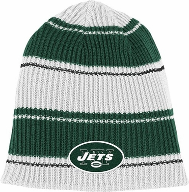 New York Jets Cuffless Reversible Team Name and Logo Knit Hat