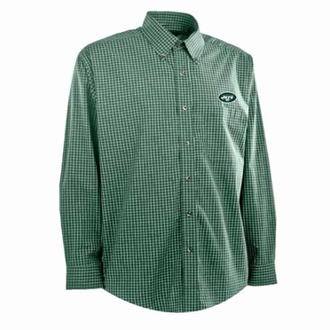 New York Jets Mens Esteem Check Pattern Button Down Dress Shirt (Team Color: Green)
