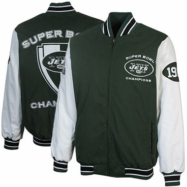 New York Jets HOF Super Bowl Canvas Varsity Jacket