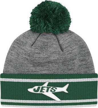 New York Jets Jersey Stripe Vintage Cuffed Pom Hat (Grey)