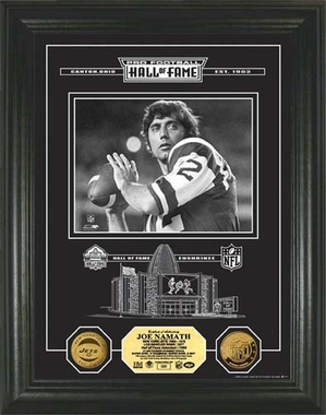 New York Jets Joe Namath HOF Archival Etched Glass 24kt Gold Coin Photo Mint