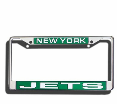 New York Jets Laser Etched Chrome License Plate Frame