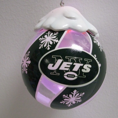 New York Jets Light Up Glass Ball Ornament