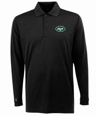 New York Jets Mens Long Sleeve Polo Shirt (Color: Black)