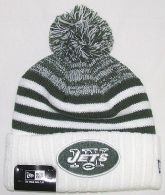 New York Jets New Era NFL Snowfall Stripe Cuffed Knit Hat
