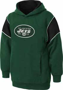 New York Jets NFL YOUTH Color Block Pullover Hooded Sweatshirt - Large
