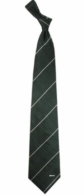 New York Jets Oxford Stripe Woven Silk Necktie