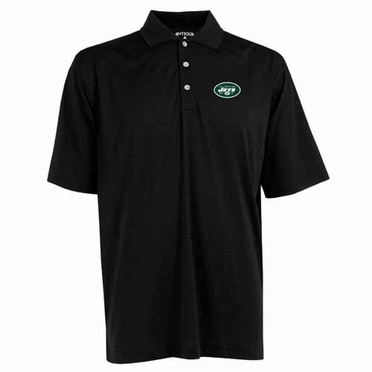 New York Jets Mens Phoenix Waffle Weave Polo (Team Color: Black)