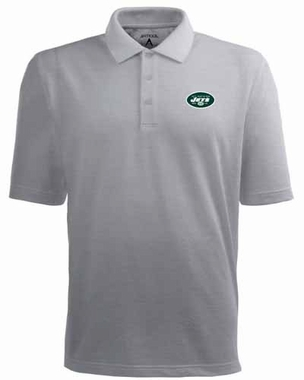New York Jets Mens Pique Xtra Lite Polo Shirt (Color: Gray)