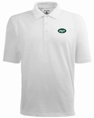 New York Jets Mens Pique Xtra Lite Polo Shirt (Color: White)