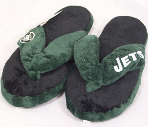 New York Jets Plush Thong Slippers - Large