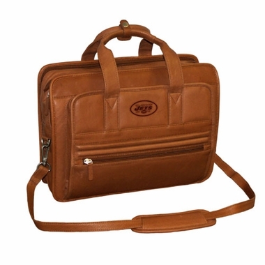 New York Jets Saddle Brown Leather Briefcase