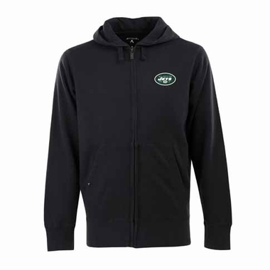 New York Jets Mens Signature Full Zip Hooded Sweatshirt (Alternate Color: Black)