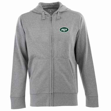 New York Jets Mens Signature Full Zip Hooded Sweatshirt (Color: Gray)
