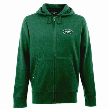 New York Jets Mens Signature Full Zip Hooded Sweatshirt (Team Color: Green)