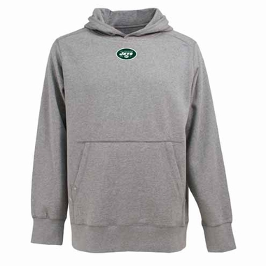 New York Jets Mens Signature Hooded Sweatshirt (Color: Gray)
