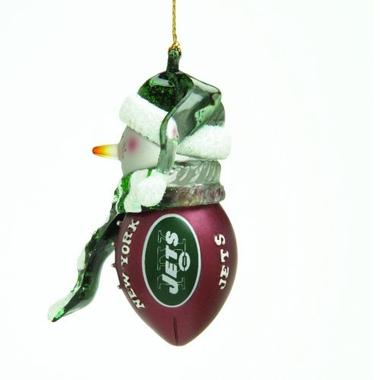 New York Jets Striped Acrylic Touchdown Snowman Ornament (Set of 4)
