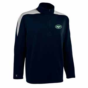 New York Jets Mens Succeed 1/4 Zip Performance Pullover (Color: Smoke) - Large