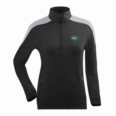 New York Jets Womens Succeed 1/4 Zip Performance Pullover (Team Color: Black)