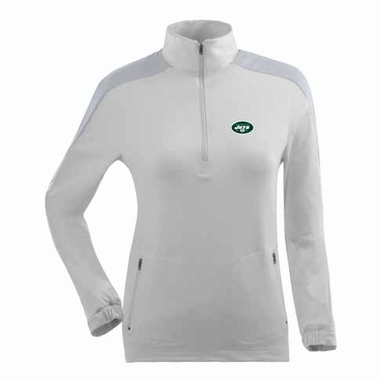 New York Jets Womens Succeed 1/4 Zip Performance Pullover (Color: White)