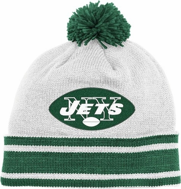 New York Jets Throwback Jersey Stripe Cuffed Knit Hat w/ Pom