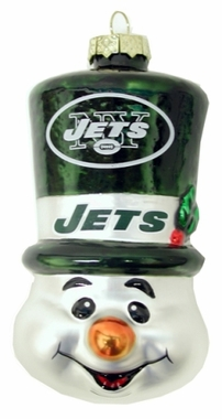 New York Jets Tophat Snowman Glass Ornament
