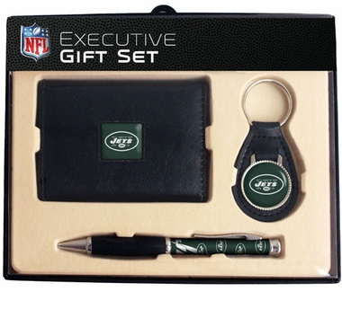 New York Jets Trifold Wallet Key Fob and Pen Gift Set