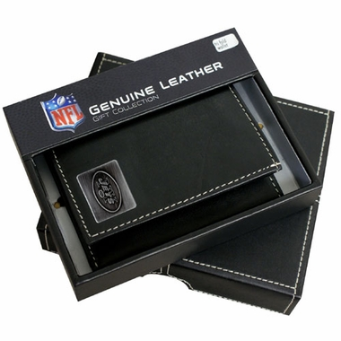 New York Jets Trifold Wallet With Metal Logo