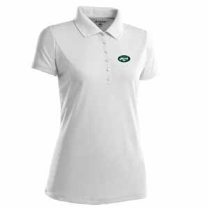 New York Jets Womens Pique Xtra Lite Polo Shirt (Color: White) - X-Large