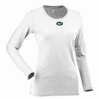 New York Jets Womens Relax Long Sleeve Tee (Color: White)