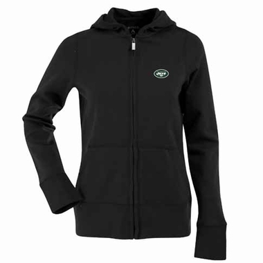 New York Jets Womens Zip Front Hoody Sweatshirt (Color: Black)