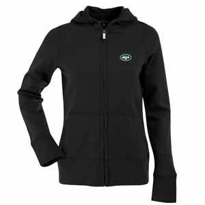 New York Jets Womens Zip Front Hoody Sweatshirt (Alternate Color: Black) - Large