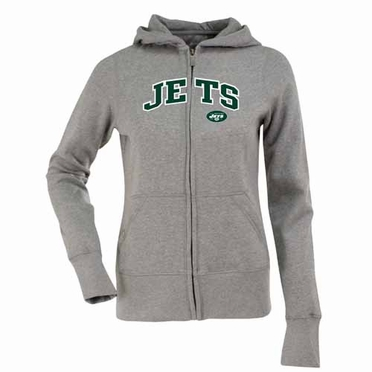 New York Jets Applique Womens Zip Front Hoody Sweatshirt (Color: Gray)