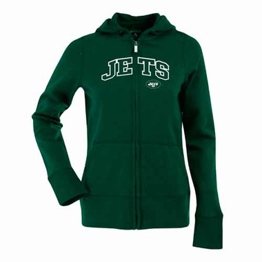 New York Jets Applique Womens Zip Front Hoody Sweatshirt (Team Color: Green)