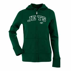 New York Jets Applique Womens Zip Front Hoody Sweatshirt (Team Color: Green) - Large