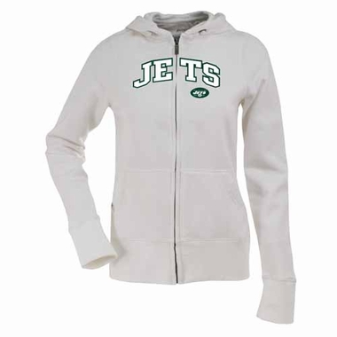 New York Jets Applique Womens Zip Front Hoody Sweatshirt (Color: White)