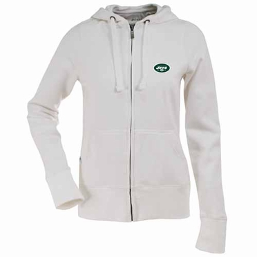 New York Jets Womens Zip Front Hoody Sweatshirt (Color: White)