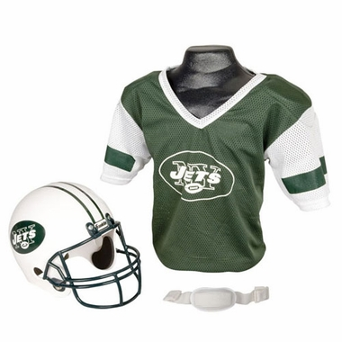 New York Jets Youth Helmet and Jersey Set
