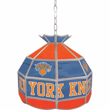 New York Knicks 16 Inch Diameter Stained Glass Pub Light