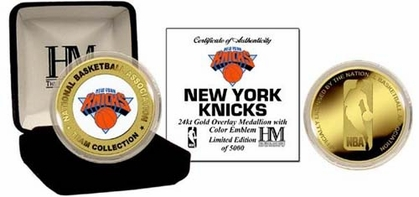 New York Knicks NEW YORK KNICKS 24KT Gold and Color Team Logo Coin