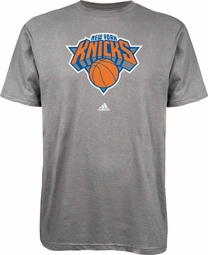 New York Knicks Adidas NBA Grey Primary Logo T-Shirt