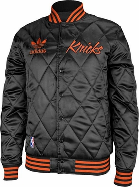 New York Knicks Adidas Originals Throwback Quilted Satin Button Jacket