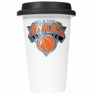 New York Knicks Ceramic Travel Cup (Black Lid)