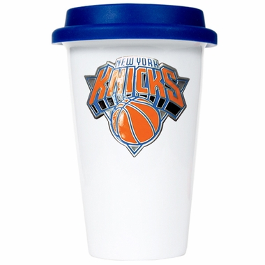 New York Knicks Ceramic Travel Cup (Team Color Lid)