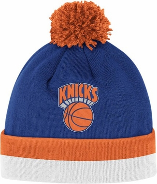 New York Knicks Vintage Jersey Stripe Cuffed Knit Hat w/ Pom